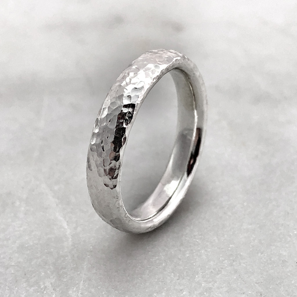 4.6mm Hammered Silver Band