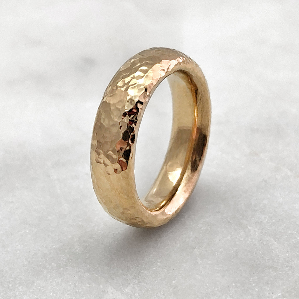 5.6mm Hammered 9ct Gold Band