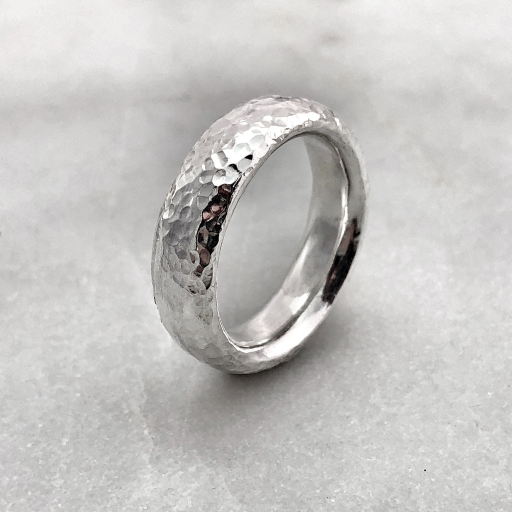 5.6mm Hammered Silver Band