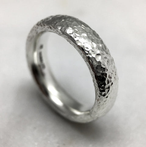 Hammered 6mm Silver Ring