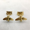 Tiny 9ct Gold Bee Studs