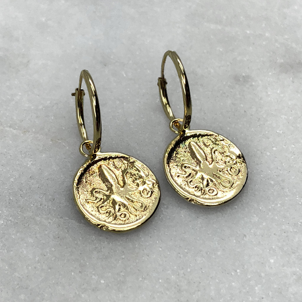 Ancient Octopus Coin Gold Hoops