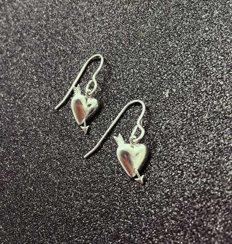 Tiny Silver Heart & Arrow Earrings