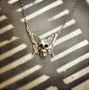 Silver Skull With Butterfly Wings Necklace