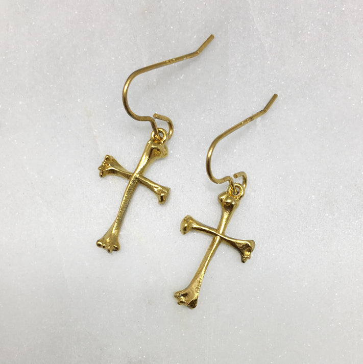 Bone Cross Gold Earrings