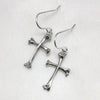 Bone Cross Silver Earrings