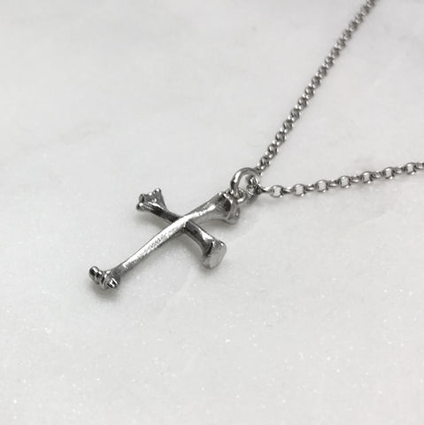 Bone Cross Silver Necklace