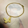 Gold Etched Butterfly Bracelet