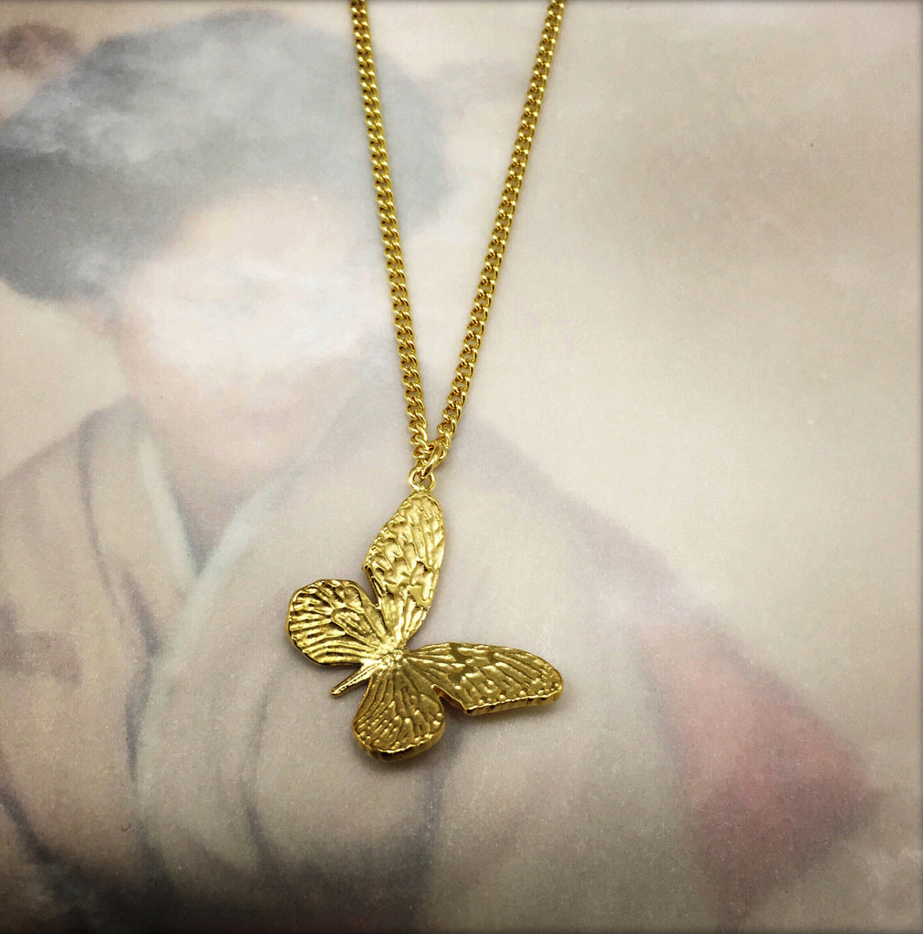 Etched Gold Butterfly Necklace