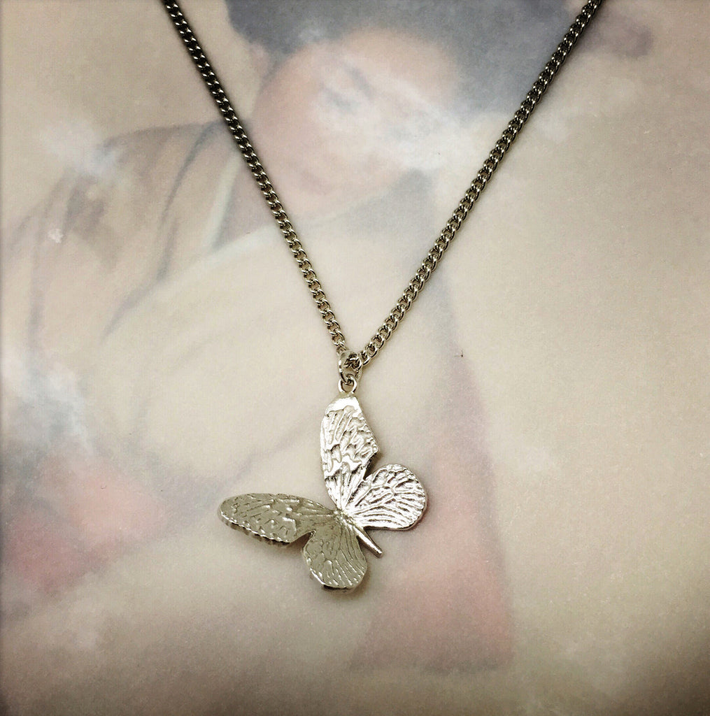 Etched Silver Butterfly Necklace
