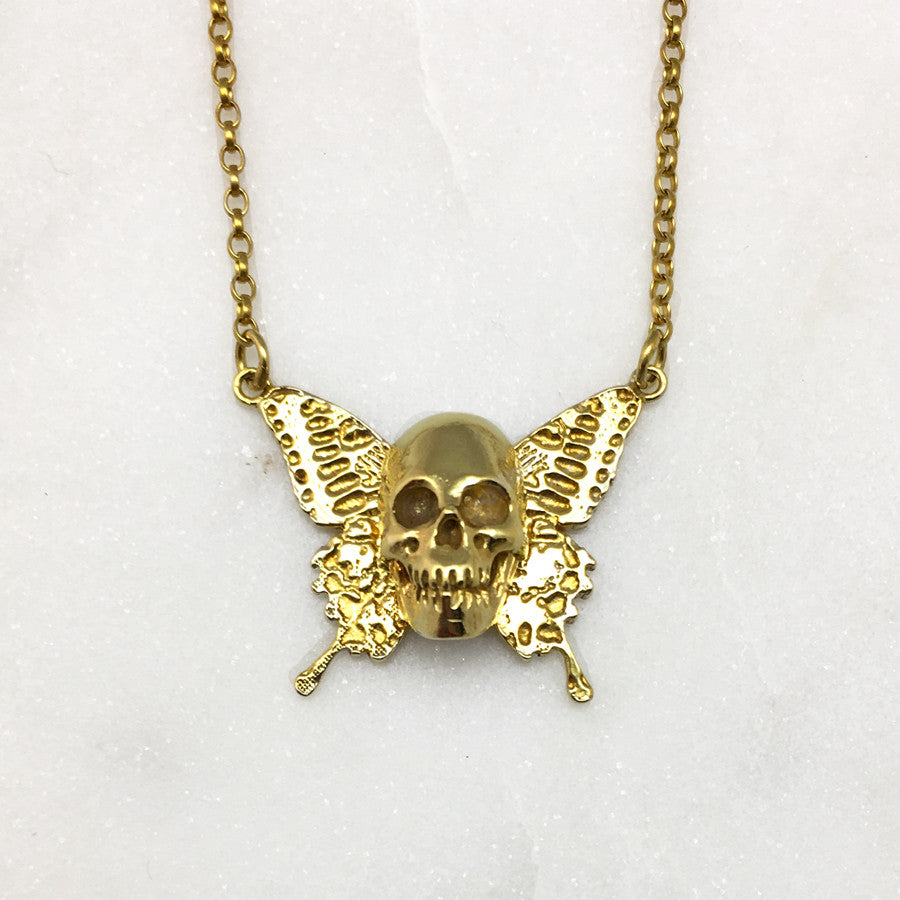 Gold Skull With Butterfly Wings Necklace