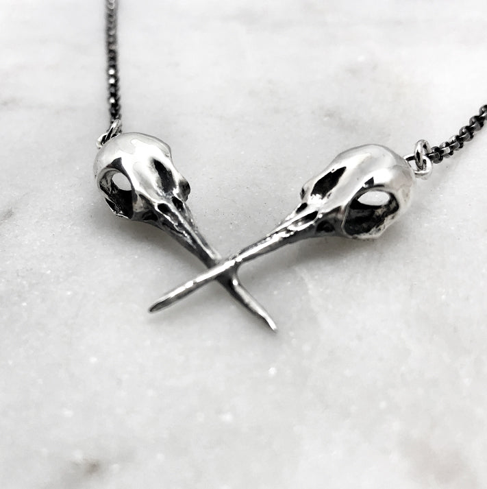 Hummingbird Crossed Skull Necklace