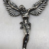 Winged Crucifix Corpus Silver Necklace