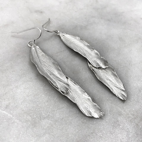 Double Silver Feather Earrings