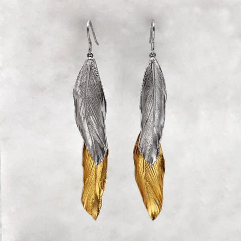 Double Silver & Gold Feather Earrings