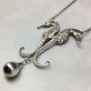Solid Silver Double Seahorse Drop Necklace