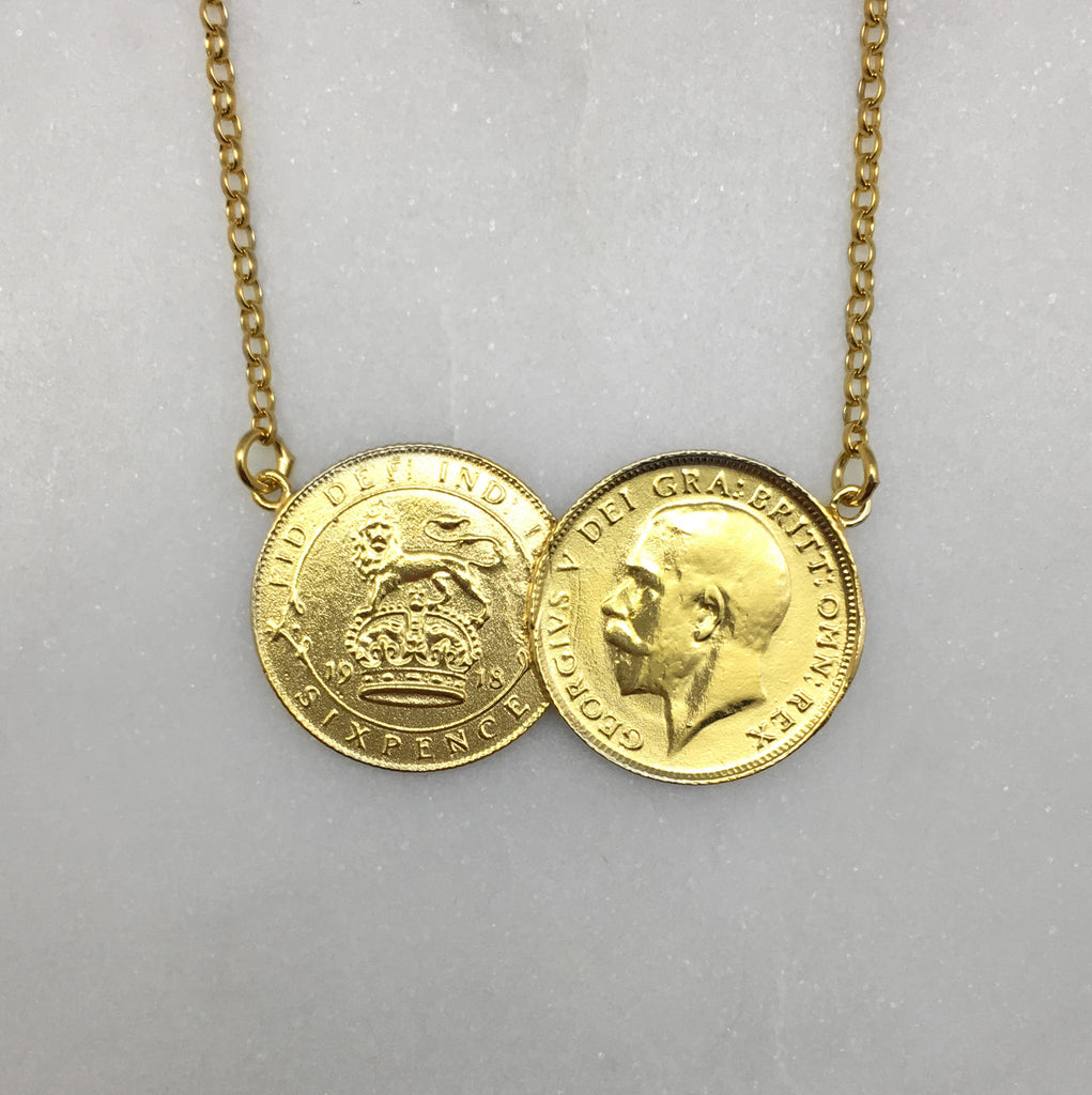 Gold Double Sixpence Necklace