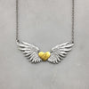 Engraved Initial Heart & Wings Necklace