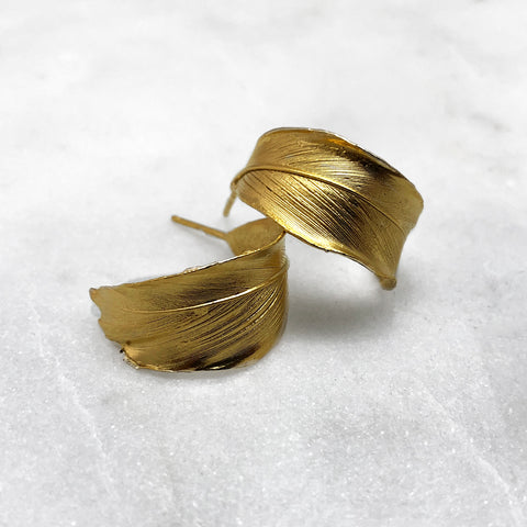 Curled Gold Feather Earrings