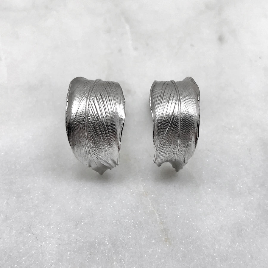 Curled Silver Feather Earrings