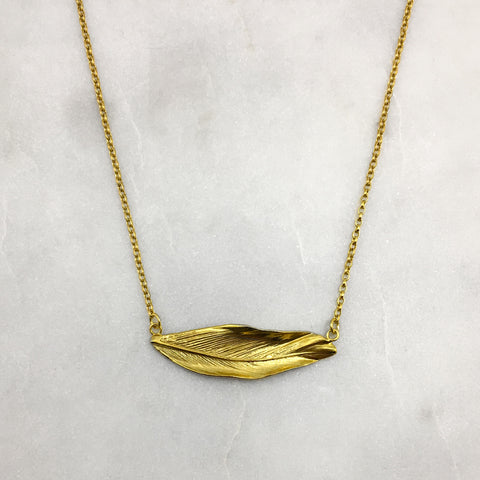 Gold Horizontal Feather Necklace