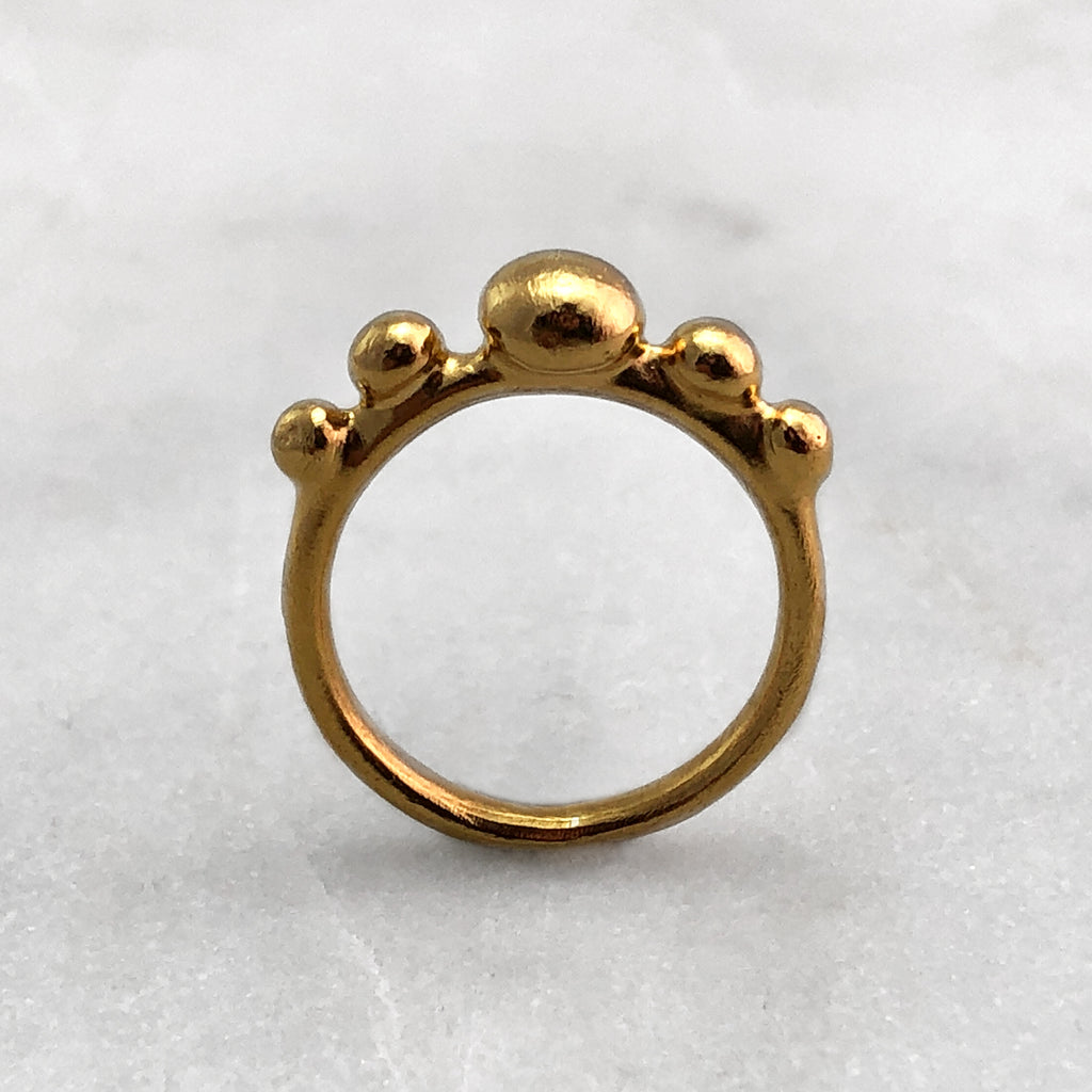 Five Ball 9ct & 18ct Gold Ring