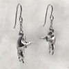 Gun Toting Frenchie Silver Earrings