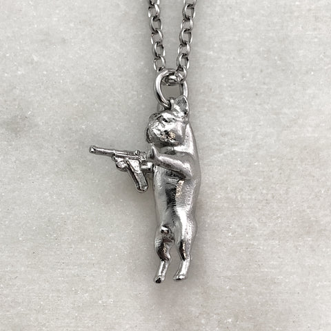 Gun Toting Frenchie Silver Necklace