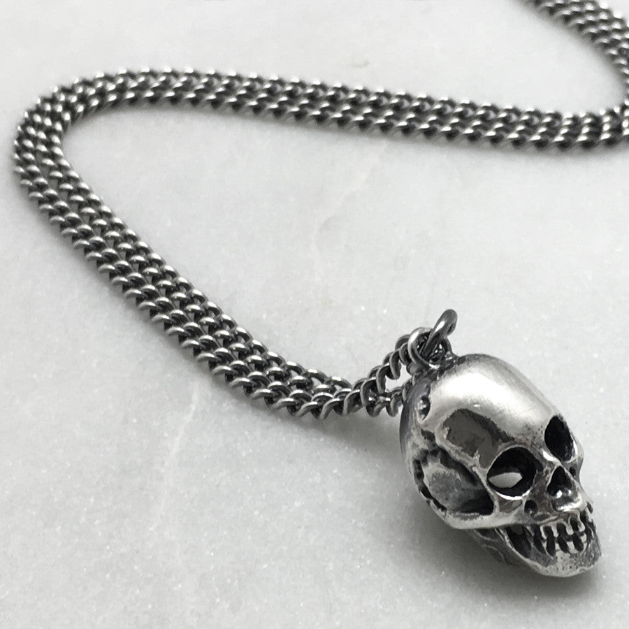 Full Silver Skull Long Necklace