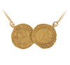 Double Gold Tudor Coin Necklace