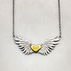 Tiny Wings & Gold Heart Necklace