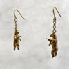 Gun Toting Grizzly Bear Gold Earrings