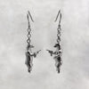 Gun Toting Grizzly Bear Silver Earrings