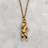 Gun Toting Grizzly Bear Gold Necklace