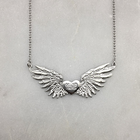 Tiny Wings & Heart Necklace