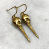 Gold Hummingbird Skull Earrings