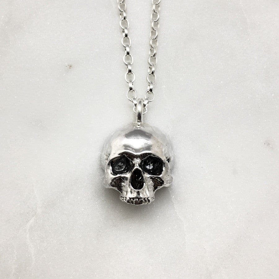 Large Jawless Silver Skull Necklace
