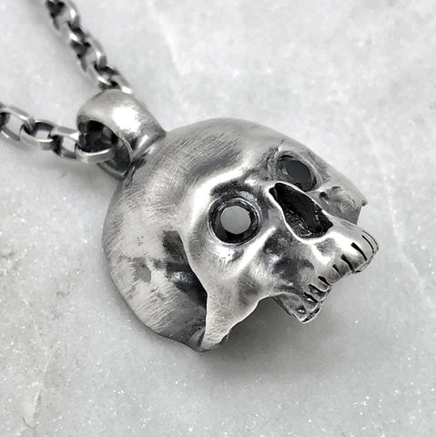 Large Jawless Silver Skull With Onyx Eyes Necklace
