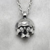 Large Jawless Silver Skull With Zircon Eyes Necklace