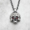 Large Jawless Silver Skull With Garnet Eyes Necklace