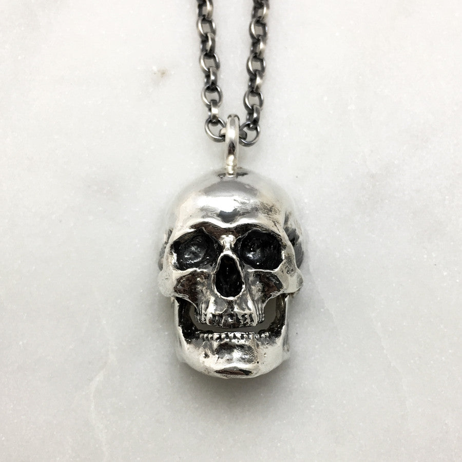 Large Silver Skull Necklace