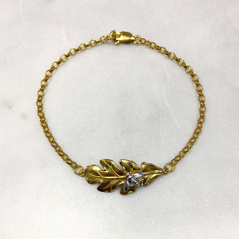 Gold Oak Leaf & Bee Bracelet