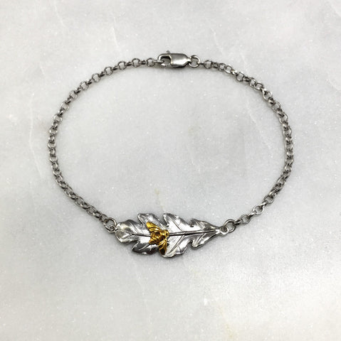 Silver Oak Leaf & Bee Bracelet