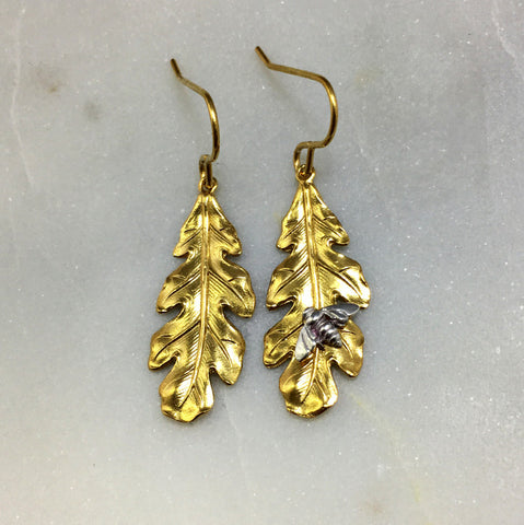 Gold Oak Leaf & Bee Earrings