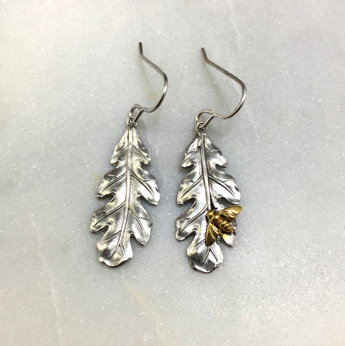 Silver Oak Leaf & Bee Earrings