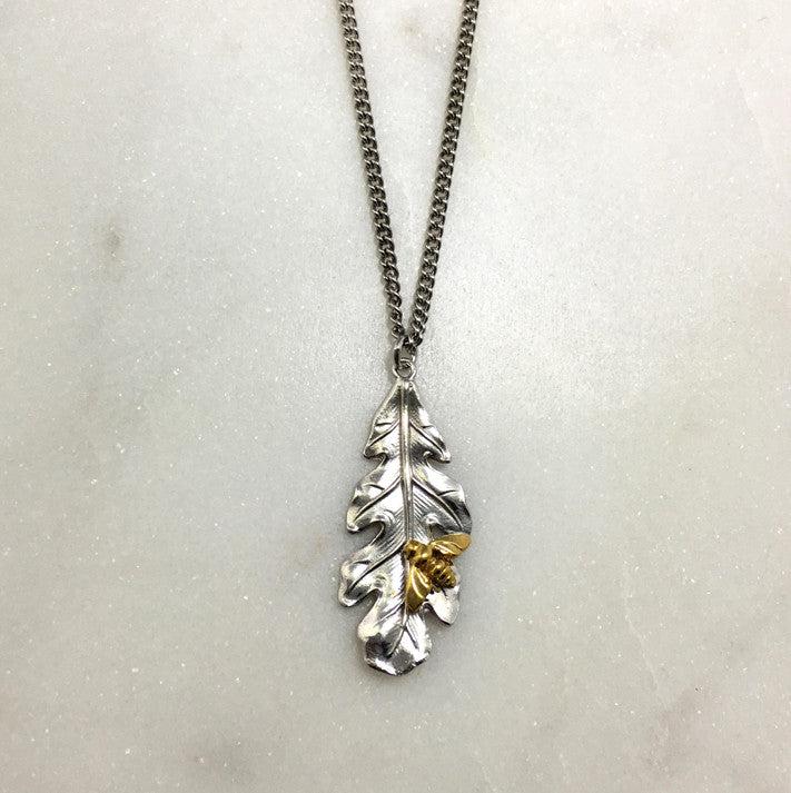 Silver Oak Leaf & Bee Necklace
