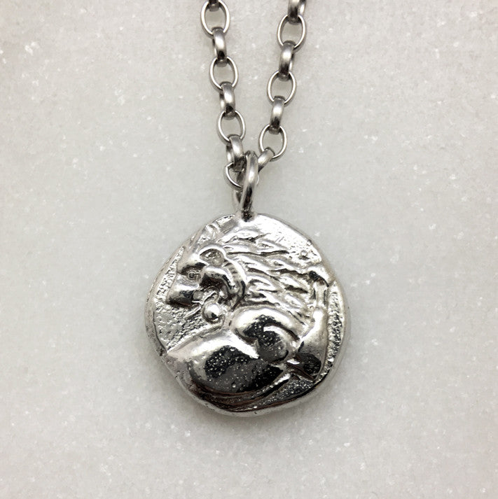 Silver Lion Coin Necklace