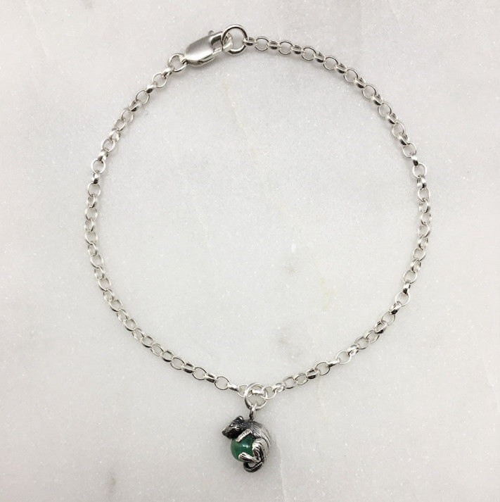 Tiny Mouse & Green Ball Bracelet