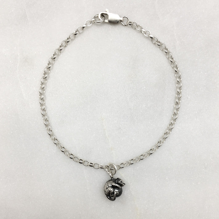 Tiny Mouse & Hematite Ball Bracelet