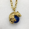 Tiny Gold Mouse & Blue Ball Necklace